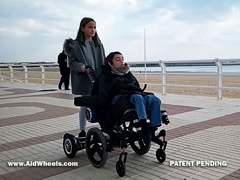 wheelchair strolling with the aid of a hoverboard
