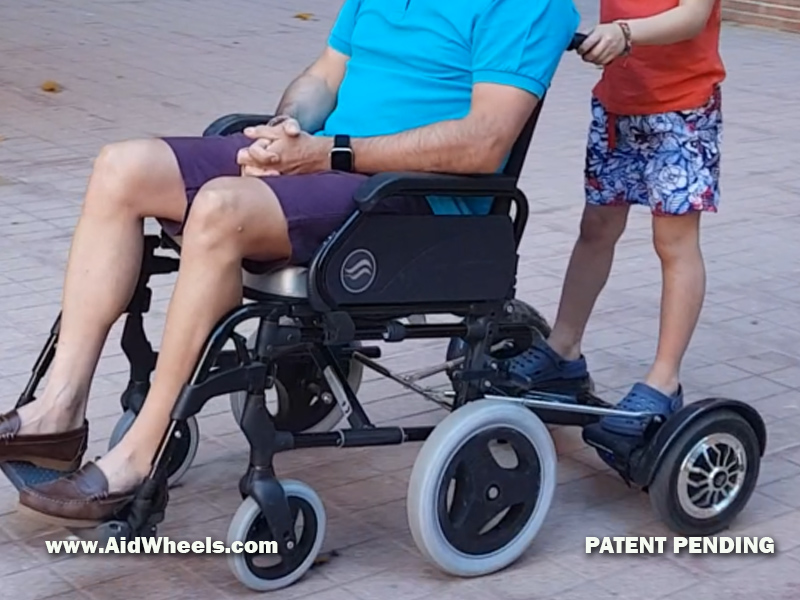 disability aids elderly care wheelchair caregiver power attachment