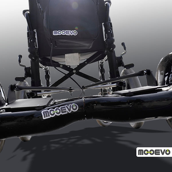 Mooevo Go Motor Empuje Paseo para Silla de ruedas reclinable | Ruedas de 60 cm | Negro