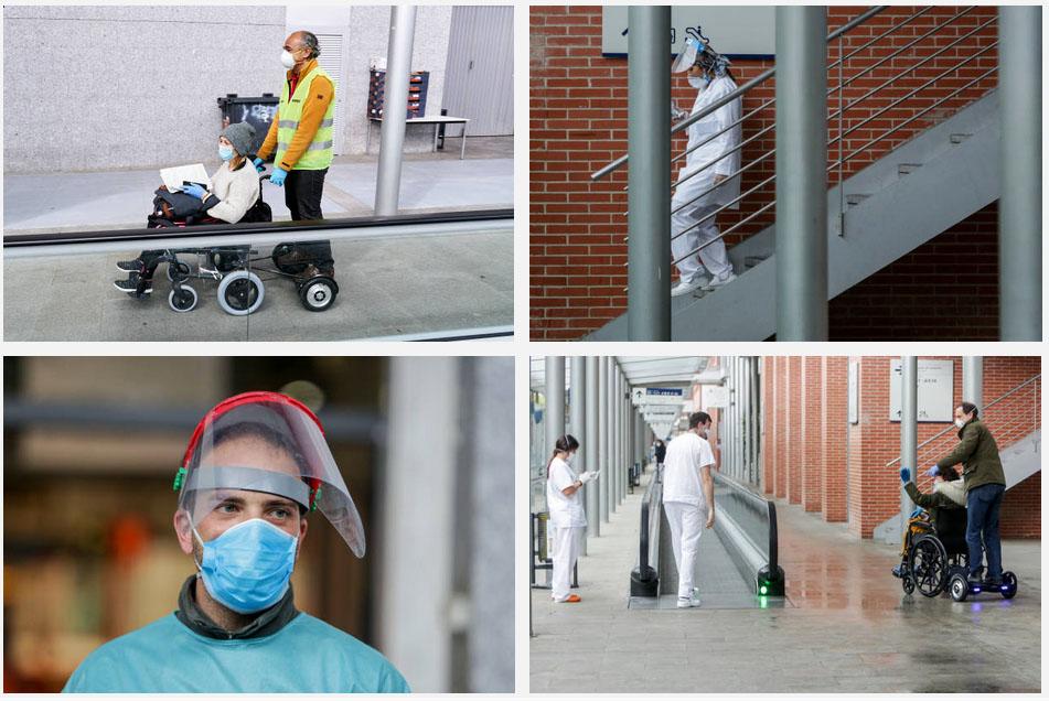 Sillas de ruedas de ayuda a pacientes en Hospital IFEMA Madrid COVID-19